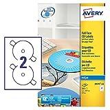 Avery Zweckform, J8676-100, CD-Etiketten, 100 Blatt, SuperSize-Spezialformat, bis 2880 dpi, schnell...
