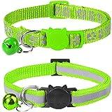 Taglory Reflektierend Katzenhalsband mit Sicherheitsverschluss und Glöckchen, 2-Stück Verstellbar Halsband Katze Kitten, 19-32cm Grün