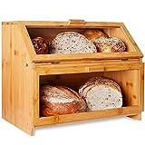 TELANKS Brotaufbewahrung, Bambus Brotkasten, Große doppelschichtige Brotbox Bambusbrotbox Brothalter mit klarem Fenster für die Küchenarbeitsplatte Brotaufbewahrungsbehälter Veranstalter