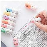 YiniKape 6 Stücke/Batch-Kapsel Highlighter Vitaminpillen Marke Farbe Stift Briefpapier Bürolehrbedarf markieren