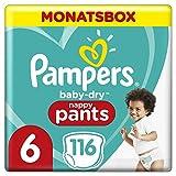 Pampers Baby-Dry Pants, Gr. 6, 15+kg, Monatsbox (1 x 116 Höschenwindeln), Einfaches An- und Ausziehen, zuverlässige Pampers Trockenheit