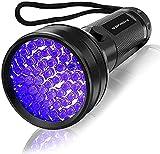 Vansky UV Schwarzlicht Taschenlampe mit 51 LEDs   Haustiere Urin-Detektor für Eingetrocknete Flecken Ihrer Hunde, Katzen und Nagetiere auf Teppichen, Vorhänge   inkl. 3xAA-Batterien