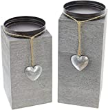 CherryKelly Kerzenhalter Säule 2 Stück Kerzenhalter Dekoration Kerzenhalter Holz Silber Laterne