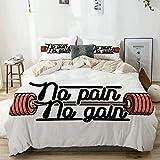 Bettwäscheset Beige, No Pain No Gain Vintage-Emblem Design Langhanteln Gewichtheben Bodybuilding,...
