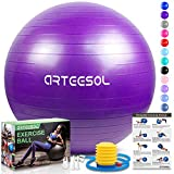 arteesol Gymnastikball, Balance Ball 45cm/55cm/65cm/75cm Yoga Ball mit Pumpe Anti-Burst Fitness...