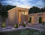 ISIDOR Premium Gartensauna Fortuna Outdoorsauna mit 4,1m² Großem Saunaraum und Großer Veranda...