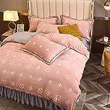 Exlcellexngce BettwäSche Winter Flauschig,Gedruckt Magic Wolle Winter Duvet Set Samt Set Floral Warmly Bett Cover Flanell Decke-J_2.0m Bett (4 StüCke)