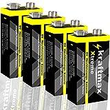 kraftmax 4er Pack Xtreme 9V Block Hochleistungs- Batterien ideal für 10 Jahres Rauchmelder - 6LR61...