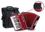 Loib Starter II 48 RD - 48 Bass Akkordeon mit 2 Chören - Inklusive Riemen, Rucksack-Tasche und...
