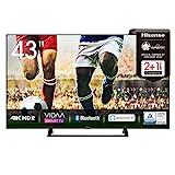Hisense 43AE7200F 108 cm (43 Zoll) Fernseher (4K Ultra HD, HDR, Triple Tuner DVB-C/ S/ S2/ T/ T2, Smart TV, Mittelstandfuß, Frameless, Bluetooth, Alexa)