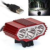 Glowjoy 12000 Lm 3 x XML T6 LED Fahrrad Scheinwerfer, Wasserdicht Fahrradleuchte Fahrradbeleuchtung,...