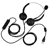 USB-Stereo-Headset mit Mikrofon, Geräuschunterdrückung, Kopfhörer mit Kabel, Business UC-Headset...