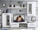 Wohnwand Anbauwand Wohnzimmerschrank 4-tlg. | Weiß Hochglanz | Verglasung