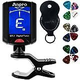 Anpro JT-10 Clip-On Digital Tuner Stimmer + 12 x Plektrum Plektron Picks mit 3 verschiedene Stärken...