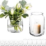12 Stück Dekoglas im Set mit [ 6X Kerzenglas und 6X Blumenvase ] Kerzenhalter Windlicht Glas groß...