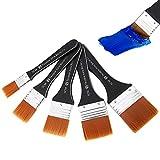 Phoetya Aquarell Acryl Flachpinsel-Set, 5 Stück Professioneller Ölpinsel Acrylglasur-Pinsel Künstlerpinsel Nylonpinsel-Werkzeugsatz für Kunst und Malerei (20/30/40/50/60 mm)
