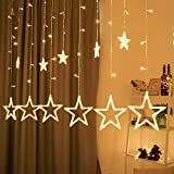 Lichterkette mit LED Kugel weihnachtsdeko,12 Sterne Lichtervorhang, Weihnachts-Innenbeleuchtung,...
