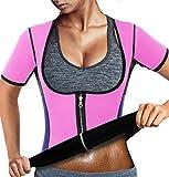 RIBIKA Damen Saunaanzug Neopren Schwitzweste Taille Trainer Gewichtsverlust - Pink - 30/32 DE