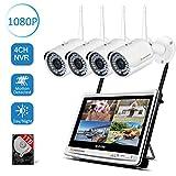Jennov 4CH Überwachungskamera Set 1080P HD NVR Wireless Überwachungssystem mit 4 x...