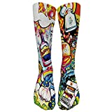 TwoCC-Weihnachten,Bunte Tie Dye Compression Socks Fußball Socken Hohe Socken Lange Socken