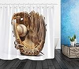 WENHUI Baseball und Handschuhe Duschvorhang Bathoom Robuster Stoff Mehltau Badezimmer Anhänger...