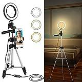 Ponacat 5. 7 LED-Ringlicht mit Ständer Und Handyhalter für Video-Live-Stream/Make-Up Dimmbare 3...
