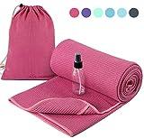 Heathyoga Yogahandtuch, rutschfest (Wet Grip)- hohe Bodenhaftung (Silikonbeschichtung), ideal für...