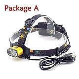 LED Stirnlampe Dual T6 Camping Scheinwerfer Weiße LED Lichter Wiederaufladbare USB Taschenlampe...