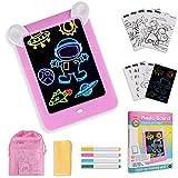 GOLDGE Led Zaubertafel Kinder Magic pad Maltafel Beleuchtend Magic Zeichentafel Set Maltafel Leuchttafel mit 4 Farbstiften Schablonen für Kinder