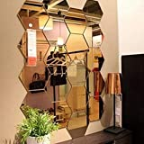 Spiegel-Wandaufkleber, sechseckiger Spiegel, Dekoration, sechseckig, Acryl, Wandbild, Kunststoff,...