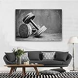 SQSHBBC Schwarz-Weiß-Kurzhantel-Wandmalerei Große abstrakte Leinwand Kunst gedruckt Giclée-Druck...
