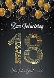Elegante Glückwunschkarte A5 Geburtstag einzigartig Geburtstagskarte mit Nummer 18 und...
