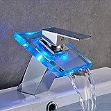 Auralum Led Wasserhahn aus Glas, Waschbeckenarmatur Wasserfall mit RGB Farbewechsel Armatur fürs...