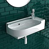 bad1a Handwaschbecken Mini Waschtisch Weiß Keramik-Waschbecken 45cm mit Überlauf |WC-Waschbecken...