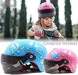 TLZR Kinderfahrradhelme mit Sonnenblende Kindermotorradhelm Sicherheitskopfbedeckung Stoßfester...