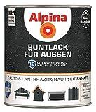 Alpina Buntlack Metalllack 0,75L anthrazitgrau Ral 7016 seidenmatt Außen