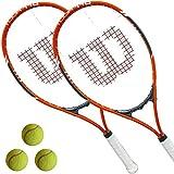 2 x Wilson Tour 110 Tennisschläger L3 besaitet + 3 Tennisbälle