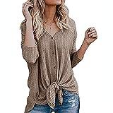 Discount Boutique Frauen Herbst Winter Shirt Langarm V-Ausschnitt Sweatshirt Volltonfarbe Knopf...