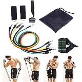 WXH Resistance Band 11-teiliges Set, Workout-Übungsbänder, mit Türanker, Griffen, Tragetasche,...