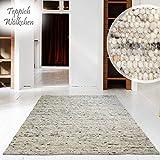 Hand-Web-Teppich | Reine Schur-Wolle im Skandinavischen Design | Wohnzimmer Esszimmer Schlafzimmer...