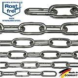 NietFullThings 100-cm = 1-Meter 5-mm Starke Edelstahl-Kette V4A Lang-gliedrig Stueck Anker-Kette DIN...