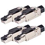 VESVITO 4x CAT6A RJ45 Stecker 10 GBit/s 500MHz PoE++ Netzwerkstecker für CAT7A CAT7 CAT6A CAT6 Netzwerkkabel AWG 23-26 werkzeuglos Crimpstecker für Verlegekabel Patchkabel Installationskabel LAN Kabel