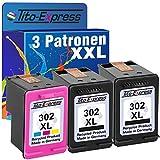 Tito-Express PlatinumSerie Set 3 Patronen für HP-302XL Deskjet 1110 2130 3630 3631 3632 3633 3634 3636 3637 | Black 20ml
