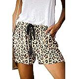 BaZhaHei Damen Sport Yoga Trainingsshorts Mode Neue Sommer Bequeme Sommer Leopard Shorts Kordelzug...