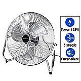 Display4top 45 cm Silber 3 Geschwindigkeit Bodenventilator Ventilator Ideal für Fitnessstudios,...