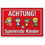 Achtung Spielende Kinder Kunststoff Schild (rot, 30 x 20cm), Hinweisschild, Warnzeichen, Warnschild...