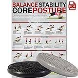 POWRX Ballsitzkissen Deluxe | 33 cm Gleichgewichtskissen | Balance-Kissen Silber mit Noppen