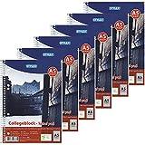 Stylex 43887-P6-6x Collegeblock Spirale, kariert, DIN A5, 80 Blatt, 60 g/m² Papier
