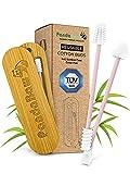 NEU: 2 Silikon Wattestäbchen wiederverwendbar [100% CO² neutral & TÜV GEPRÜFT] - Ohrstäbchen wiederverwendbar für Make-Up - Weiche Ohrenstäbchen + Q Tips Bambus Box - PandaBaw® Farbe: pink