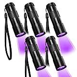 Beinhome UV Taschenlampe Schwarzlicht 5 Stück,UV Lampe mit 12 LEDs 395nm,Haustiere Urin Detektor UV Handlampe Leuchte für Eingetrocknete Urin Flecken von Hund und Katz(inkl. 15 pcs AAA Batterien)